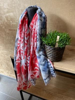 Sjaal snake blauw-rood logo