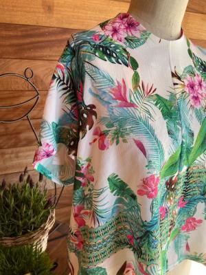 Top bloemen met lint Wit/groen