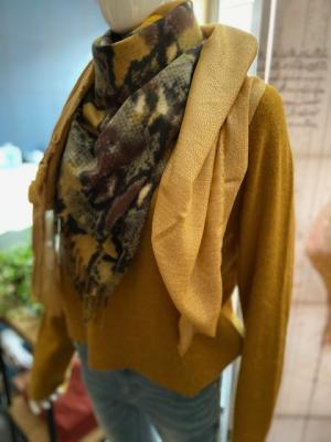 Sjaal mosterd met bont logo