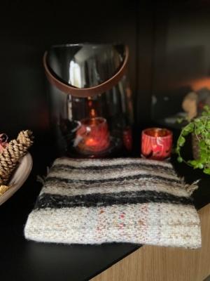 Sjaal beige-zwart-oranje-bruin Beige