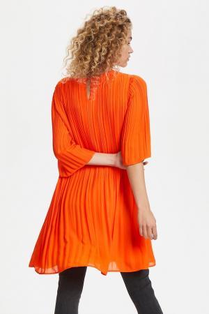 TULLE Pleated Dress Red Orange