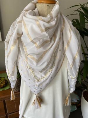 Sjaal wit met gouden bolletjes logo